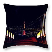 Tokyo Tower At Night Throw Pillow