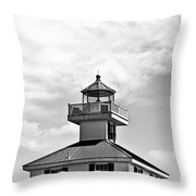 Top Of The New Canal Lighthouse - Bw Throw Pillow