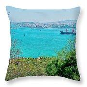 Topkapi Palace Wall Along The Bosporus In Istanbul-turkey  Throw Pillow