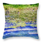 Torch River Water Lilies Throw Pillow