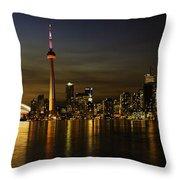 Toronto Evening Sky Line Panorama Throw Pillow