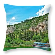 Tourboat Stops By Ancient Tombs In Daylan-turkey  Throw Pillow