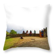 Tourists Posing For Photos Throw Pillow