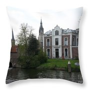 Town Canal - Delft Throw Pillow