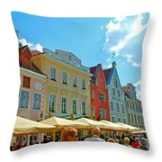 Town Square In Old Town Tallinn-estonia Throw Pillow