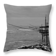 Trabocco On The Coast Of Italy  Throw Pillow