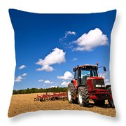 Tractor In Plowed Field Throw Pillow