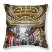 Traditional Shopping Area In Shanghai China Throw Pillow