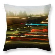 Traffic Blur Throw Pillow by Charmian Vistaunet