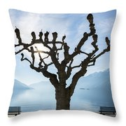 Tree And Bench Throw Pillow