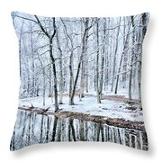 Tree Line Reflections In Lake During Winter Snow Storm Throw Pillow