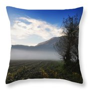 Tree With Fog Throw Pillow