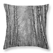 Trees Along A Road, Log Cabin Gold Throw Pillow
