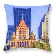 Trinity Church Boston Usa Throw Pillow