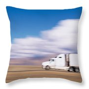 Truck On The Road, Interstate 70, Green Throw Pillow