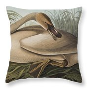 Trumpeter Swan Throw Pillow by John James Audubon