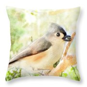 Tufted Titmouse With Seed - Digital Paint Throw Pillow