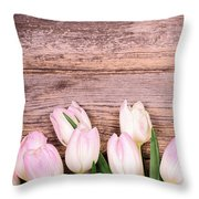 Tulips Over Old Wood Throw Pillow