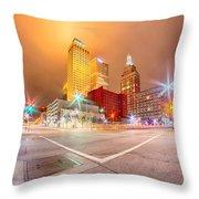 Tulsa City Skyline Around Downtown Streets Throw Pillow