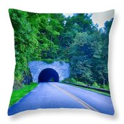 Tunnel Through Mountains On Blue Ridge Parkway In The Morning Throw Pillow