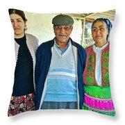 Turkish Family In Demircidere Koyu In Kozak-turkey  Throw Pillow
