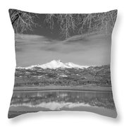 Twin Peaks Longs And Meeker Lake Reflection Bw Throw Pillow