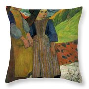 Two Breton Girls By The Sea Throw Pillow