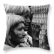 Two Elderly Apache Women Labor Day Rodeo White River Arizona 1969 Throw Pillow