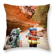 Two Friends Hiking Through The Grand Throw Pillow