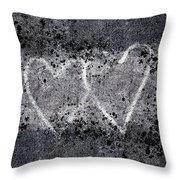 Two Hearts Graffiti Love Throw Pillow
