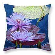 Two Purple Lilies Throw Pillow