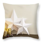 Two Stars With Gold Candles Throw Pillow