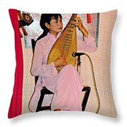 Two-stringed Lute Player At Wedding Ceremony Show In Binh Quoi Village-vietnam  Throw Pillow