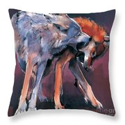 Two Wolves Throw Pillow by Mark Adlington