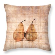 Two Yellow Pears On Folded Linen Throw Pillow