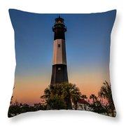 Tybee Light Sunset Throw Pillow