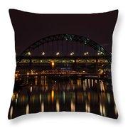 Tyne Bridge At Night Throw Pillow