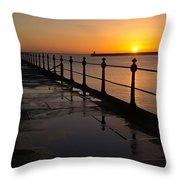 Tynemouth Pier Sunrise Throw Pillow