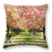 Under The Cherry Blossom Trees Throw Pillow