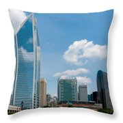 Uptown Charlotte North Carolina Cityscape Throw Pillow