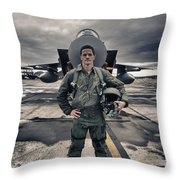 U.s. Air Force Pilot Standing In Front Throw Pillow