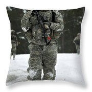 U.s. Army Soldier Conducts A Dismounted Throw Pillow