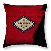 Usa American Arkansas State Map Outline With Grunge Effect Flag  Throw Pillow