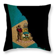 Usa American Delaware State Map Outline With Grunge Effect Flag  Throw Pillow