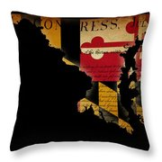 Usa American Maryland State Map Outline With Grunge Effect Flag  Throw Pillow