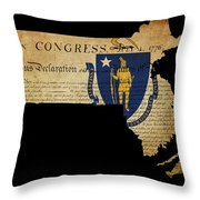 Usa American Massachussetts State Map Outline With Grunge Effect Throw Pillow