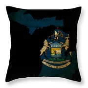 Usa American Michigan State Map Outline With Grunge Effect Flag  Throw Pillow by Matthew Gibson