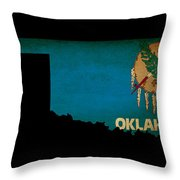 Usa American Oklahoma State Map Outline With Grunge Effect Flag Throw Pillow