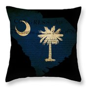 Usa American South Carolina State Map Outline With Grunge Effect Throw Pillow