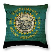 Usa American South Dakota State Map Outline With Grunge Effect F Throw Pillow